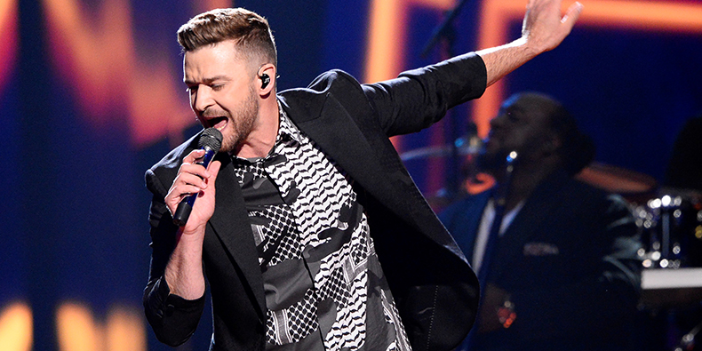 US artist Justin Timberlake performs after the second dress rehearsal for the Eurovision Song Contest final in Stockholm, on May 13, 2016 / AFP / Jonathan NACKSTRAND (Photo credit should read JONATHAN NACKSTRAND/AFP/Getty Images)